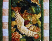 Quilted Table Runner Oriental Style in Green, Gold, Rust and Cream