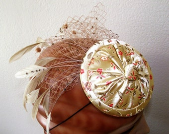 OOAK Light Gold Floral Fascinator Cocktail Hat veiling rhinestone feathers