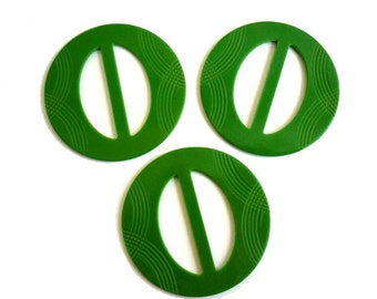 3 Vintage Plastic Round Green Carved Art Deco Patterned Belt Buckles at 3 each - Large Size - Old Store Stock Unused