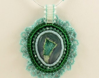 Clear Agate with Light Green Bands Druzy Pendant Necklace