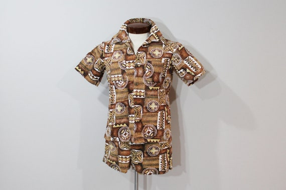 60s Swim Trunks Hawaiian Shorts Shirt Set Short Sleeves Button Up Mens Swimwear Brown