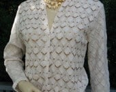 Vintage 60s Beaded Crocheted Creamy Mocha Lightweight Millay Sweater with Amber Sequins, 38