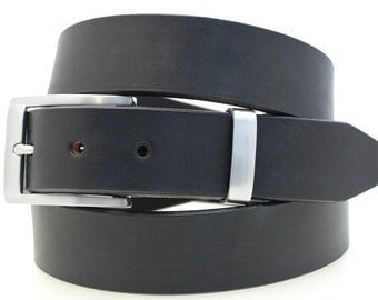 "1 1/4"" Men's Plain Dress Belt Full Grain Black Bridle Leather Square Buckle And Loop Set With Brushed Nickel Finish American Made"