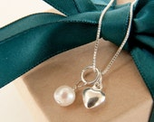 Bridesmaid gift necklace set sterling silver jewelry charm box chain  heart pearl swarovski charms