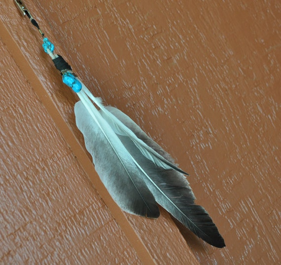 Snow Goose Feather and Turquoise Native American Style Hair and Accessory Clip
