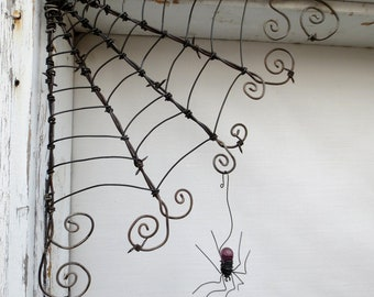 "Czechoslovakian Purple Spider Dangles From 12""  Barbed Wire Corner Spider Web"