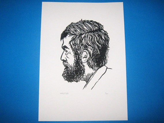 Stanley Kubrick linocut print
