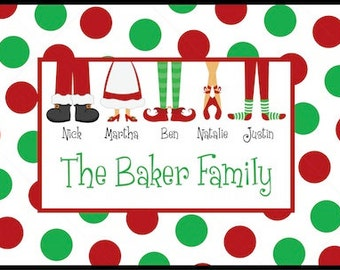 Personalized Door Mat - Family Feet - Christmas