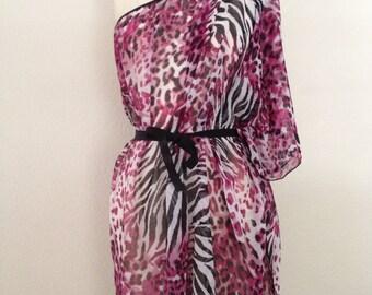Chiffon Convertible Coverup - Wine Leopard and Zebra Print