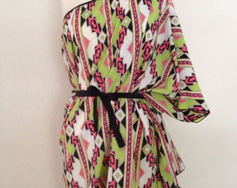 Brushed Satin Convertible Coverup - Lime Green and Coral Tribal