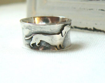 Oxidized Sterling silver Dachshund Ring - Made to order