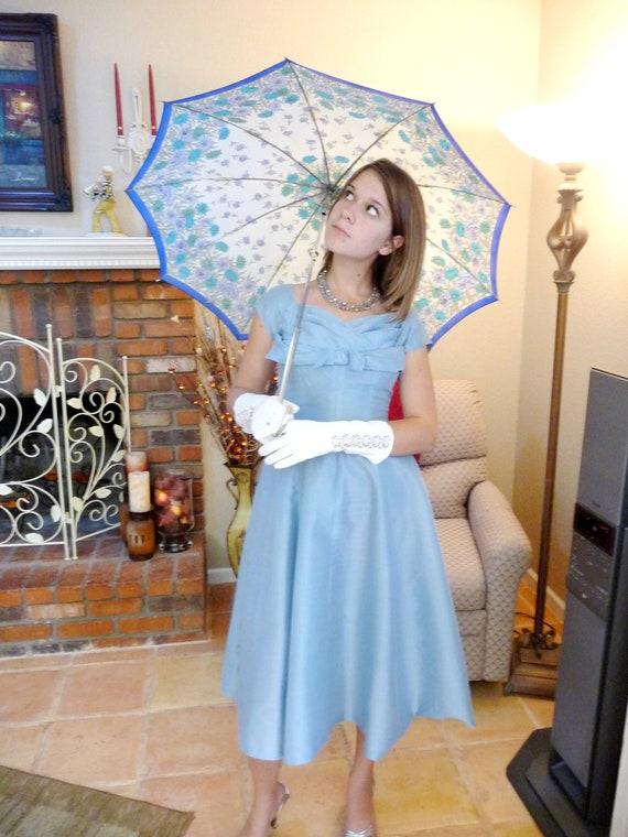 50s Vintage Dress Icy Blue Shelf Bust Garden Party Dress