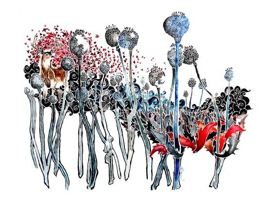 Opium -giclee PRINT of original watercolor
