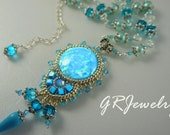 TUTORIAL, Blue and Silver Bead Embroidered Pendant (Instruction only).