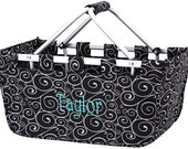 Personalized Collapsible Large Market Basket (BLACK SWIRL)