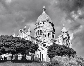 Fine Art photography, Sacre Coeur, Paris, France, church, cathedral, black and white, 8x10