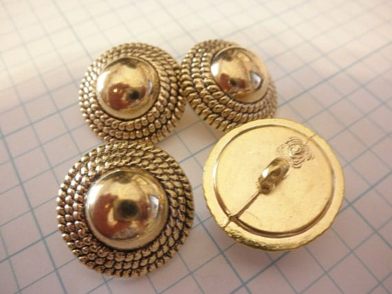 12  Rope Border buttons Gold half round ball- Great Purse Closure Embellishment--Metalized plastic GOLD Color  Buttons- 7/8  inch -