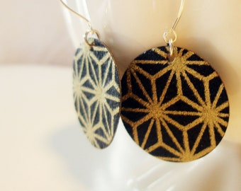 Black and Gold Geometric Origami Small Earrings
