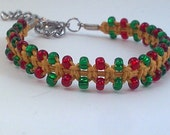 Gold Hemp Christmas Bracelet with Green and Red Glass Beads