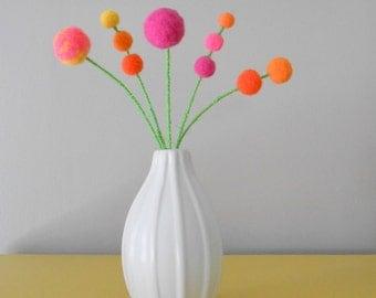 Bright felt flower arrangement - Wool billy button - Pom poms - Hot Pink,yellow,orange felt balls - Wedding table decoration - Pompom flower