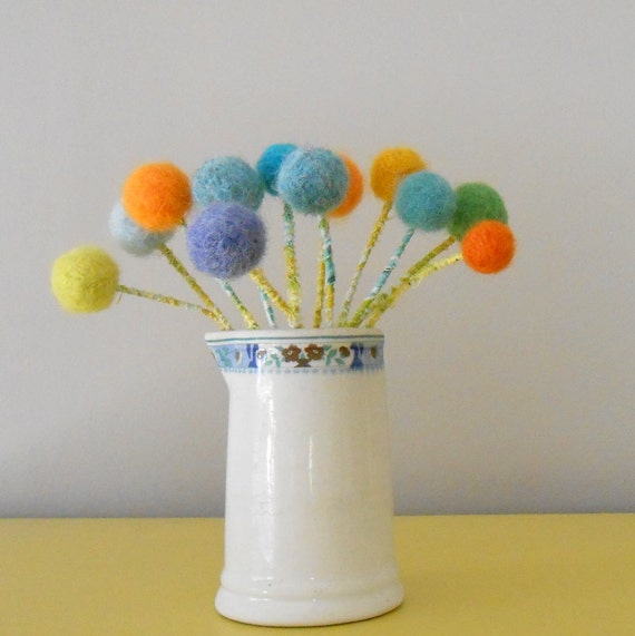 SALE.Colorful pom pom flowers.  Childs room decor.  Vintage ironstone creamer with flowers.  Balloons, polka dots. Bright bouquet. Nursery.