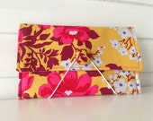 Coupon/Envelope System Wallet (Small) - Floral, Goldenrod & Pink