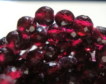 1/2 Strand - 5 mm, Garnet, Amazing Color, Rhodorite Garnet 3D Micro Faceted Round beads