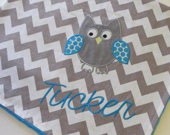 Personalized Baby Blanket 30x35- Aqua Minky Blanket-  Chevron Baby Blanket- Applique Baby Blanket- Owl Baby Blanket- Design Your Own Blanket