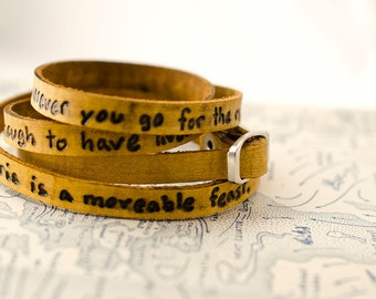 Paris is a Movable Feast Ultra Long Hand Carved Custom Quote Leather Wrap Bracelet