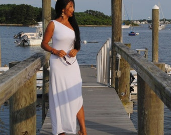 organic clothing  -  One Off Shoulder Slip Dress