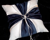 Navy Blue And Silver White or Ivory Wedding Ring Bearer Pillow