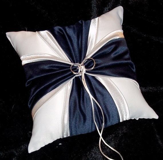 Navy Blue Amp Silver Accent White Or Ivory Wedding Ring Bearer