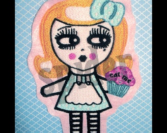 Alice in Wonderland  Eat Me Cupcake  Giant Embroidered Patch Embroidery Iron on Cupcakes