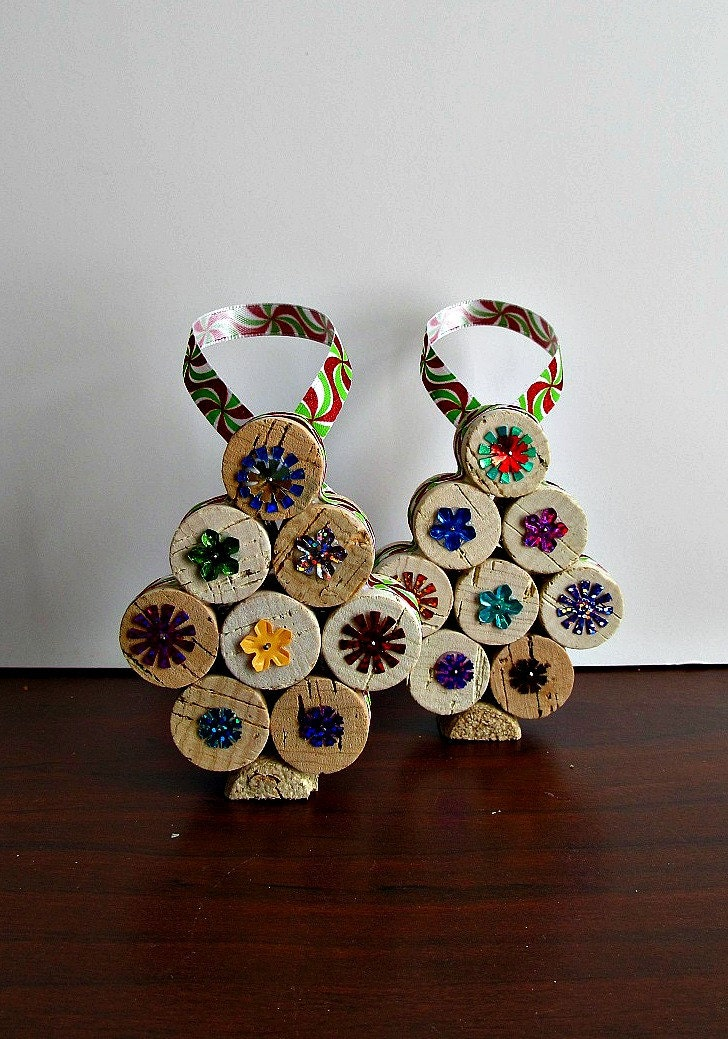 Cork Ornaments Christmas Tree Set of 2 Eco by LizzieJoeDesigns
