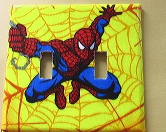 Spiderman Set Double Switch Plate Cover and 3 Outlets Set includes child safety plugs