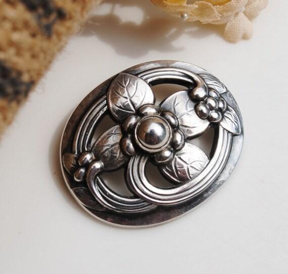 ON RESERVE for D. - Georg Jensen - Sterling Oval Floral Brooch