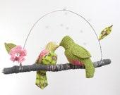 """Modern Love Bird Mobile - """"2 little lovebirds sitting in a tree K-I-S-S-I-N-G""""  in hot pink, lime green, gray"""