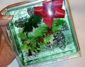 Vintage 1950's Christmas Corsage with Green and White Holly Leaves Silver Glitter, Berries and Red Ribbon New in Box