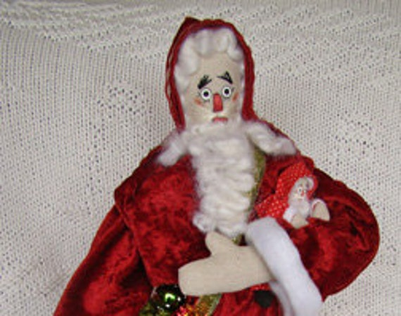Cloth Doll Santa Father Christmas Folk Doll Collectible