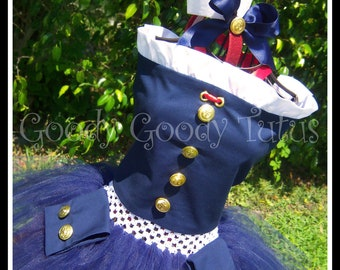 ANCHORS AWAY Military Inspired Tutu and Corset Top Set with Wrist Cuffs and Headpiece
