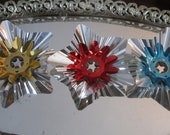 Foil Light Reflectors Christmas Tree Large Silver Foil w/ Blue,Red,Gold Xmas Lighting - Starburst Holiday  Lot of Three NOS
