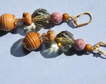 "3"" 1/4 L  Jasper stone, olive acrylic, porcelain, wood dangle earrings"