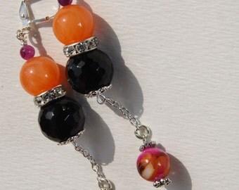"3"" 1/2 L Black onyx, orange jade, MOP multi color, dangle, drop earrings"