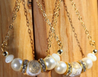 """3"""" 1/2 L Mother of Pearl, Gold n Grey porcelain bead, triangular dangle,  The Princess of the Orient"""