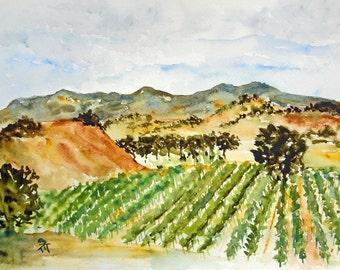 Roadside Vineyard Watercolor Fine Art Print, 8x10, Watercolor Landscape