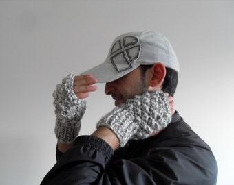 Men Gloves,Gift For Dad,Grey Man Gloves, Hand Knit Fingerless Men Gloves,Adventurer Steampunk Boho Man