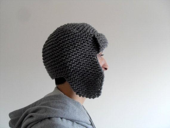 Knitting Pattern Aviator Hat : Mens Pilot Hat Mens Hat in Grey Mens Knit Hat Mens