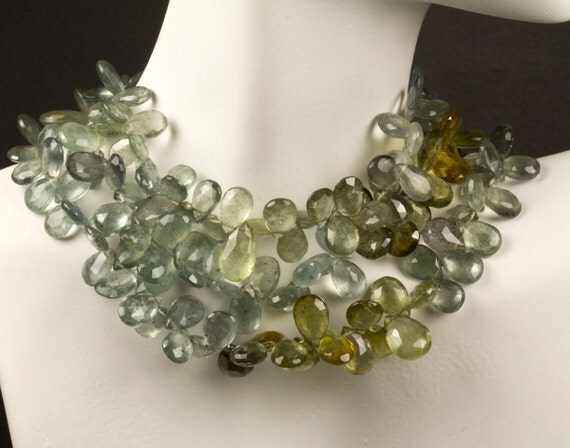 Moss Aquamarine Briolettes, Pears, Faceted, Pale Green, Blue Green, Sage Green, Olive Green -  Shaded Moss Aquamarine - 1/2 Strand