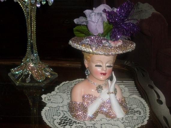 Jeweled Lefton lady head vase