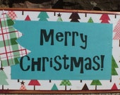 Merry Christmas -  distressed wood block - in blue - Free Shipping